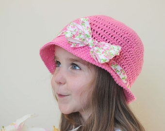 Pink Sun Hat/ Easter Hat/ Easter bonnet/ Pink Bow hat/ bow Hat/ Bow/ Girls sun hat/ Bow sun Hat/ Girls hat/ Easter