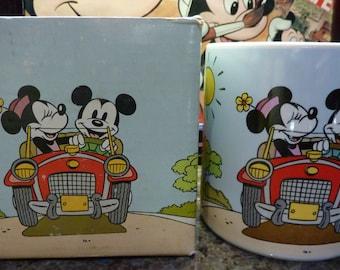 Applause Walt Disney Mickey & Minnie Mouse Riding In Car Coffee Mug Cup