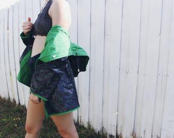 Vintage Rain Jacket / Rain Coat Whale Print Reversible