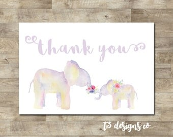 Girl Watercolor Elephant Baby Shower Thank You Card, Elephant Thank You,  Elephant Baby Shower