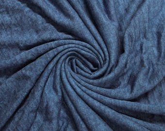 Denim Slub Printed Sandwash Rayon Fabric by the Yard - Style 705