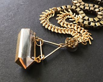 Gold Electroplated Quartz Crystal & Pyrite Necklace