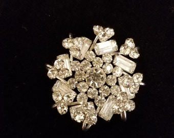 Mid Century Brilliant Prong Set Rhinetone Brooch, ca 1950s