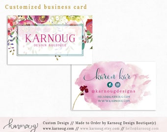 Floral Business Cards|Business Card|Instant Business Cards|Custom Business Cards|Printable Business Cards|Watercolor|Printable Cards