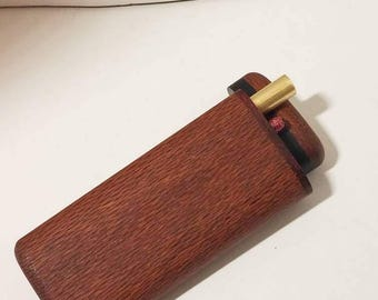 """Handcrafted Exotic Lacewood Wooden Dugout Sliding Top  4-1/2"""" Tall Spring Loaded with Cherry Wood Tobacco Pipe and Pick One Hitter Box  R"""