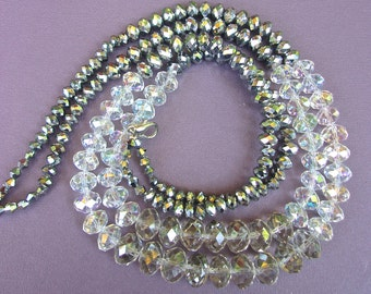 Crystal & Glass Hematite Necklace, 2 Multi Strand, Sparkly 3 Shades, Vintage