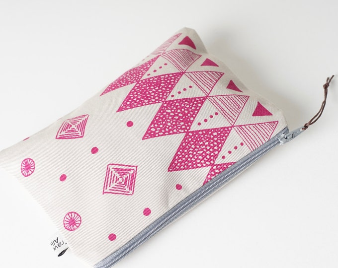 Small Printed Pouch - Screen printed in Pink