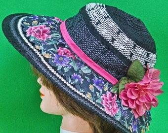 Beautiful New Hand Decorated Women's Sun Hat, Black &, White Material