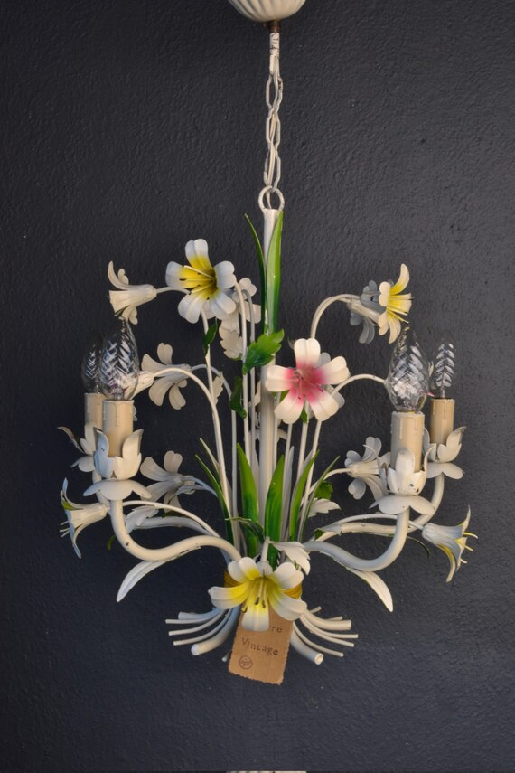 Beautiful painted flower toleware chandelier