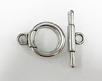 7 Sets Silver Toggle Clasps 25mm PEWTER - PBF152