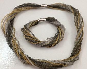 Sterling Silver Vermeil Necklace & Bracelet Set
