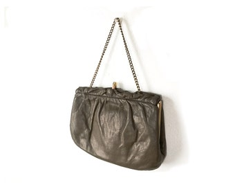 Brown Clutch, leather clutch,  brown evening bag, small brown purse, Women Bags and Purses / Vintage Accessories