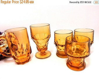 Amber Glasses Vintage 1960's Anchor Hocking and Continental Thumbprint Panel Drinkware Ice Tea Mug and Tumblers Midcentury Topaz Bar Cups