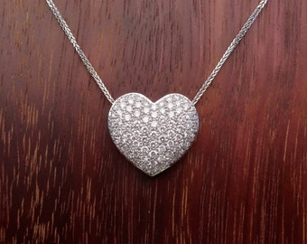Large Heart Shape Pave Diamond Pendant Natural White Diamonds 18k White Gold Necklace with 18K Chain Included