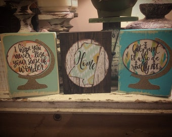 Distressed wood block signs