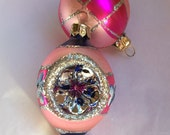 Vintage Christmas Ornaments Hand Painted Stencils Glass Indent Tear Drop Pink