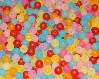 Frosted 6mm Beads, Sold per 10g, Acrylic Ball Beads, 6mm Beads, Round Beads, Colorful Beads, Ball Beads, Sold by weight, ACB045