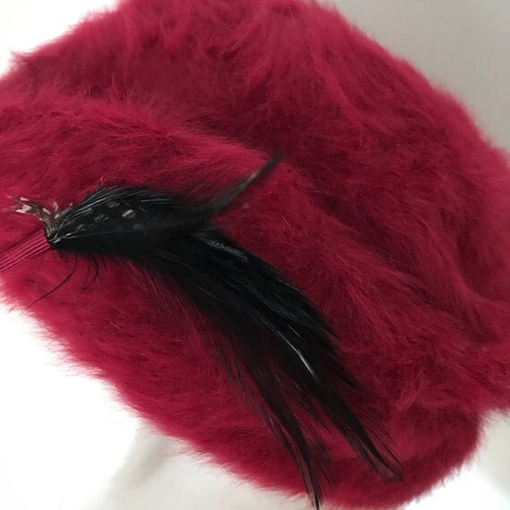 Vintage hat raspberry pink mohair beret style feather embellishment day hat Kangol