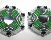 PEACEFUL REFLECTIONS beaded earrings, mirror inlay, bead embroidery, handmade