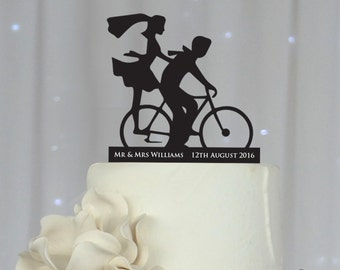 1 x Bicycle Silhouette Acrylic Wedding Cake Topper