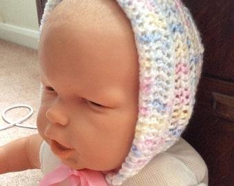 Bonnet, baby, crochet,   in silky 3 ply yarn, White,Pink, Lemon, Blue , ribbon. Washable.