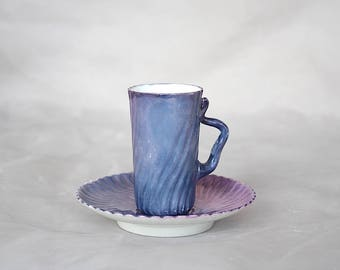 Antique Limoges Chocolate Cup Saucer - Limoges Demitasse Cup Saucer - Elite Limoges France - Purple Decor - Purple Limoges China
