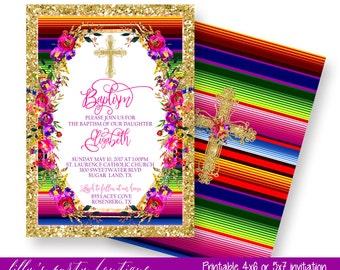 Baptism Fiesta Invitation, Fiesta Baptism Invitation, Mexican Fiesta Baptism Invitation- YOU PRINT