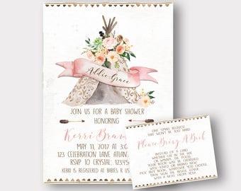 Boho Baby Shower Invitation | TeePee Baby Shower Invitation | Arrow Baby Shower Invitation | Floral Baby Shower Invitation