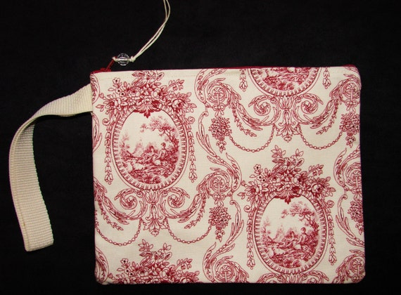 Cameo toile shabby chic wrist pouch clutch handmade by me for Toile shabby chic