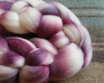 Tester - Hand dyed South American fibre for handspinning or felting in pinky purples and natural cream