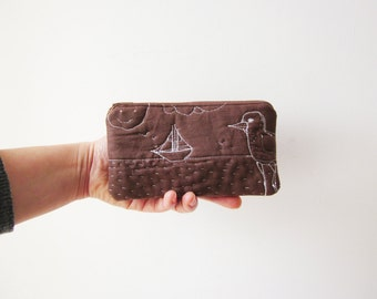 Cute little cosmetic zipper pouch, small wallet, hand sewn, bird, coin purse