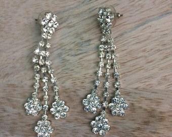 Rhinestone Dangle Chandelier Earrings