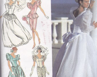 Simplicity 8484 Vintage Pattern Wedding Gown or Bridesmaid Dress in 5 Variations Size 6,8,10 UNCUT