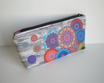 Makeup bag, cosmetic bag, zipper pouch, pencil case, Mandala, small bag, fabric pouch, printed pouch, gift for her