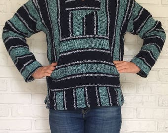 Women's Small Drug Rug Hoodie, Navy and Teal