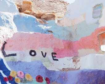 """Salvation Mountain, Love Photograph, Colourful Pastel Art, Typography, California, Travel Photography, Wall Art 8"""" x 10"""""""
