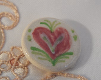 Pink Heart Ceramic Button by Lois Huth
