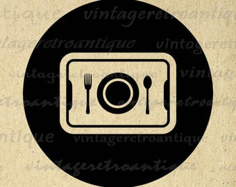 Digital Image School Lunch Graphic Cafeteria Tray Printable Download Antique Clip Art Jpg Png Eps Print 300dpi No.4451