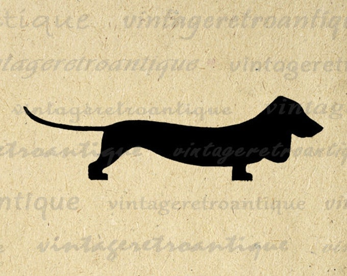 Wiener Dog Digital Image Graphic Dachshund Wiener Dog Silhouette Image Printable Download Vintage Clip Art Jpg Png Eps HQ 300dpi No.2116