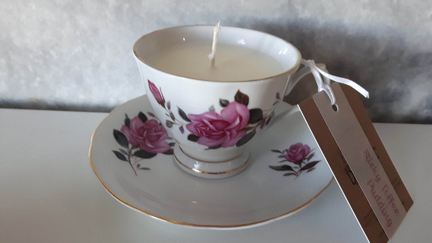 Hand poured scented soy wax vegan vintage tea cup candle, scented with sticky toffee pudding.