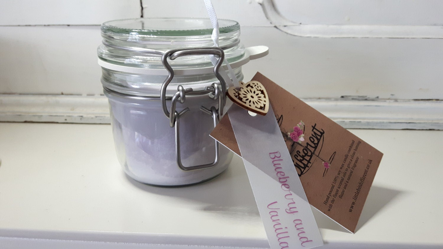 Blueberry and vanilla scented hand poured beautiful eco friendly vegan soy wax candles in reusable Kilner style jars.