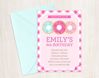 Donut Party Invitation - Doughnut Birthday Party Invitation - Donut Party Supplies - Donut Themed Party - Printable Invitation