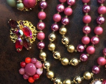 Triple Strand Assemblage Necklace in Shades of Berries