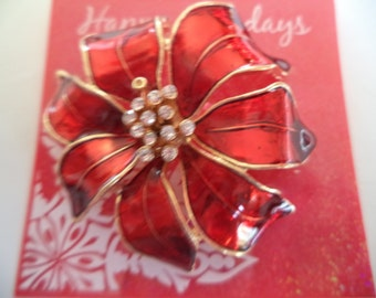 Vintage Unsigned Red Enamel/AB Stones Flower  Brooch/Pin