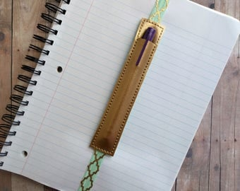 Single Pen Holder Bookmark, Planner Band, Gold Vinyl with Mint Green and Gold Elastic, Made in USA, Stretchy Bookmark, Binder Pen Holder