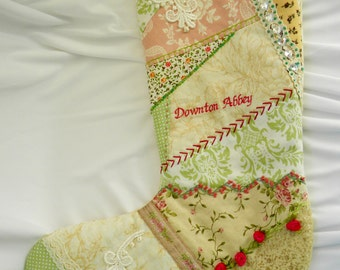 Downton Abbey Crazy Quilt Christmas Stocking OOAK Hand Made Embroidery Lace Trim, Ribbon Flowers, Green Pink ColorsFree US Shipping