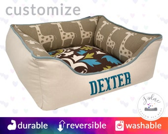 X-Small Brown Natural Dog Bed | Giraffe, Suzani, Turquoise | Design Your Own Dog Bed | High Quality & Washable