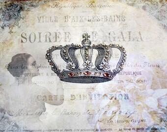 Lady and Crown digital print