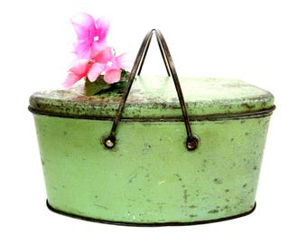 Antique Metal Lunchbox, Metal Lunch Pail, Jadeite Green Metal Box, Rustic or Cottage Chic Decor, Kitchen Storage Decor
