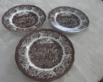 Stratford Stage Brown SET of THREE dessert or salad plates - brown transferware Royal Staffordshire J & G Meakin